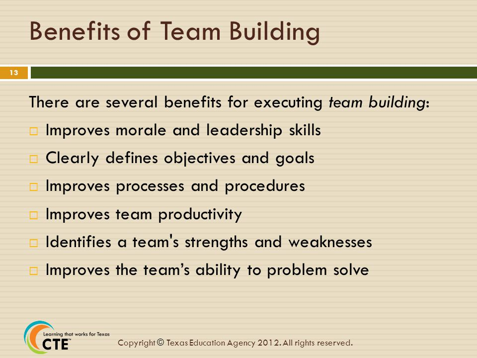 Benefits of Team Building