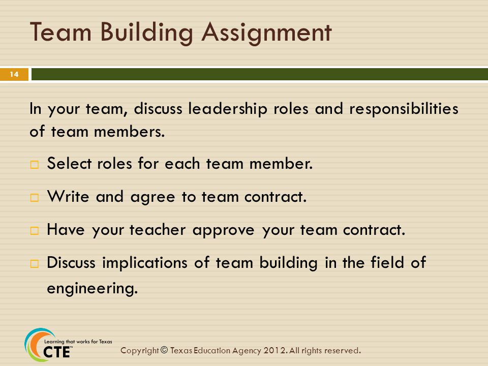 Team Building Assignment
