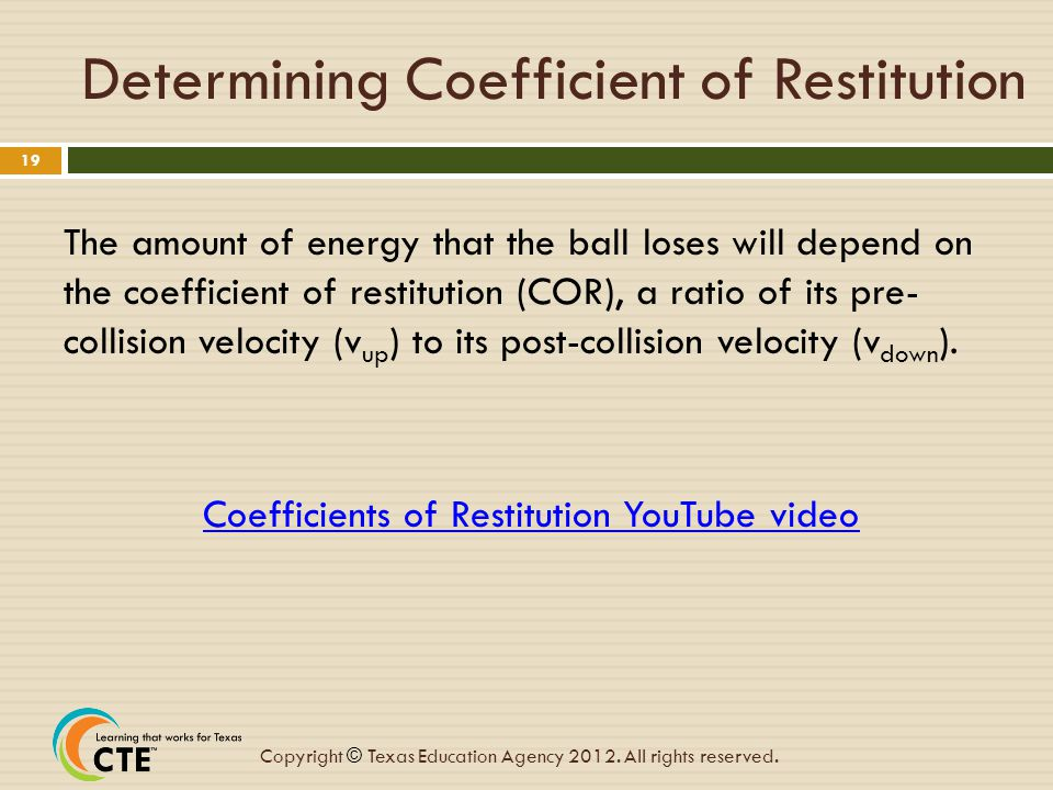 Determining Coefficient of Restitution