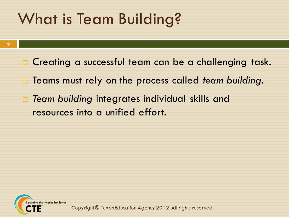 What is Team Building Creating a successful team can be a challenging task. Teams must rely on the process called team building.