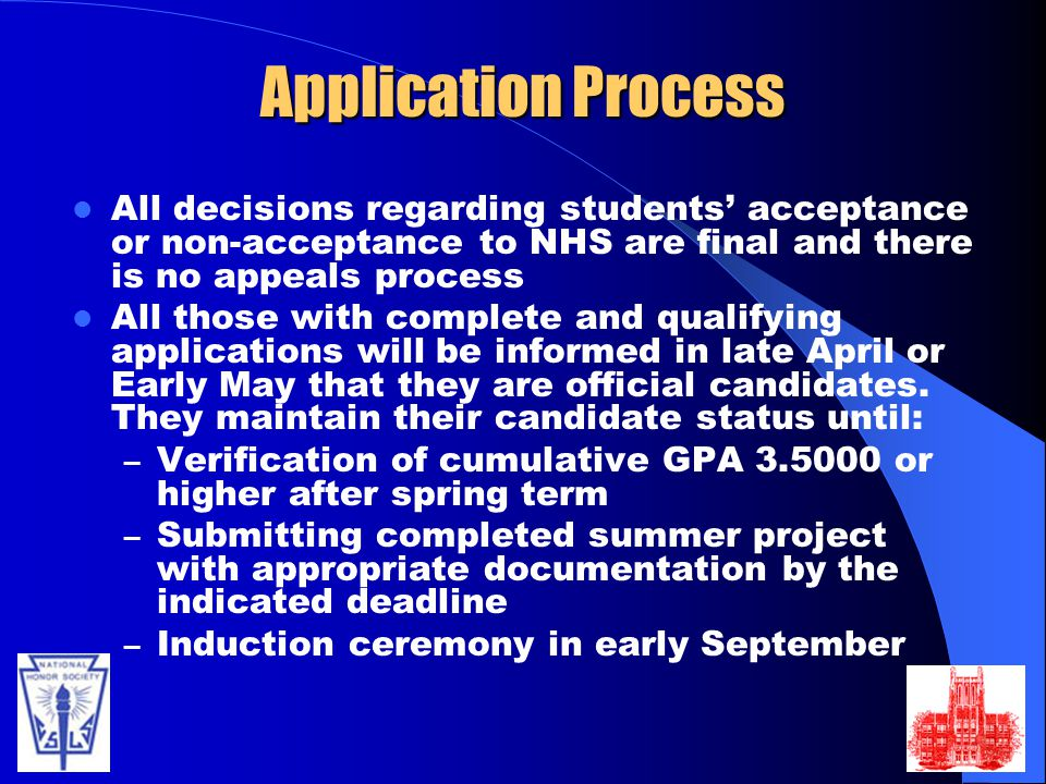 Application Process All decisions regarding students' acceptance or non-acceptance to NHS are final and there is no appeals process.