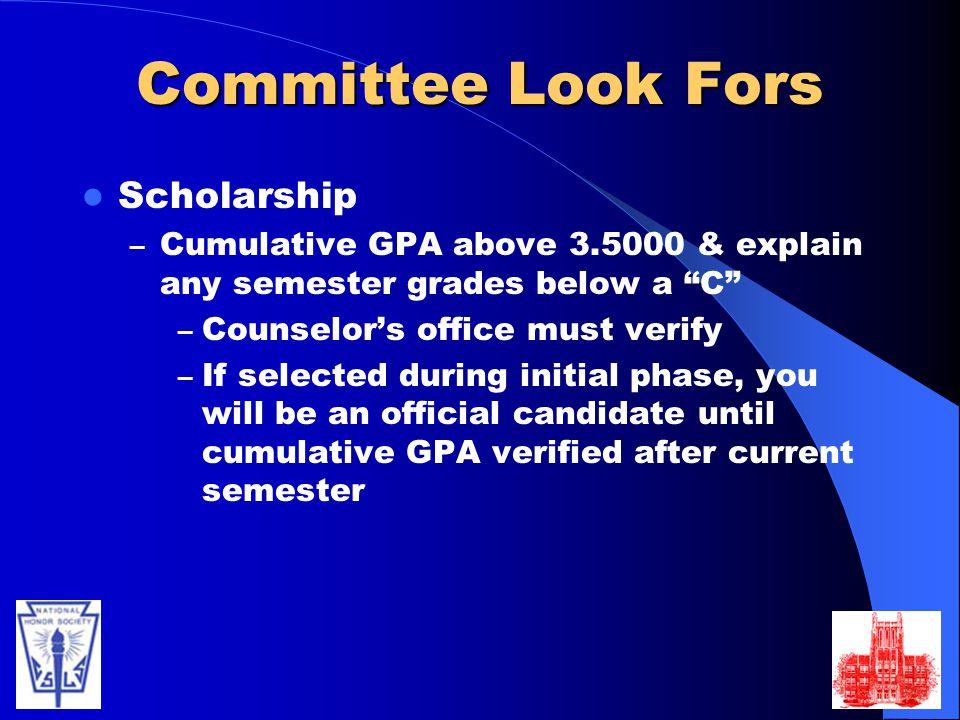 Committee Look Fors Scholarship