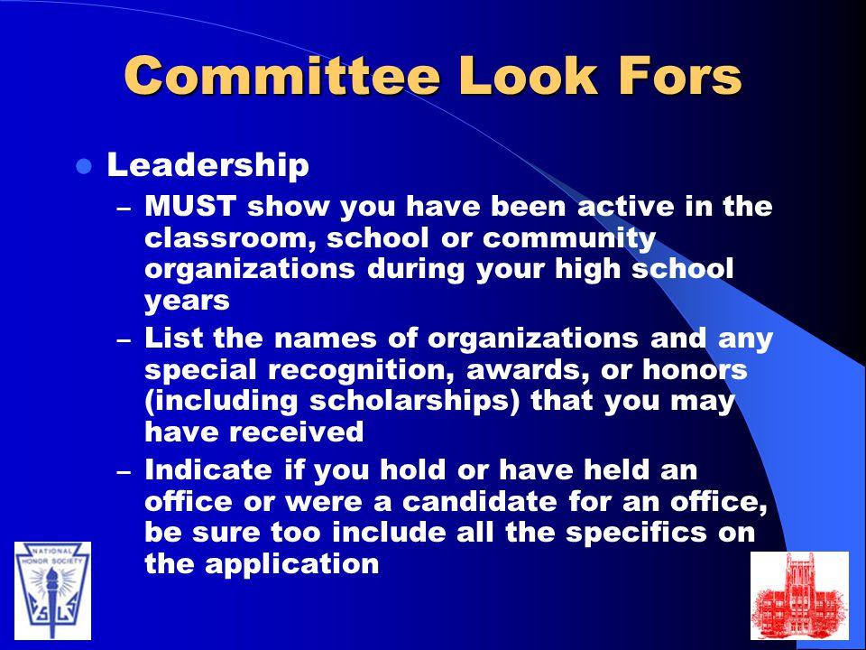 Committee Look Fors Leadership