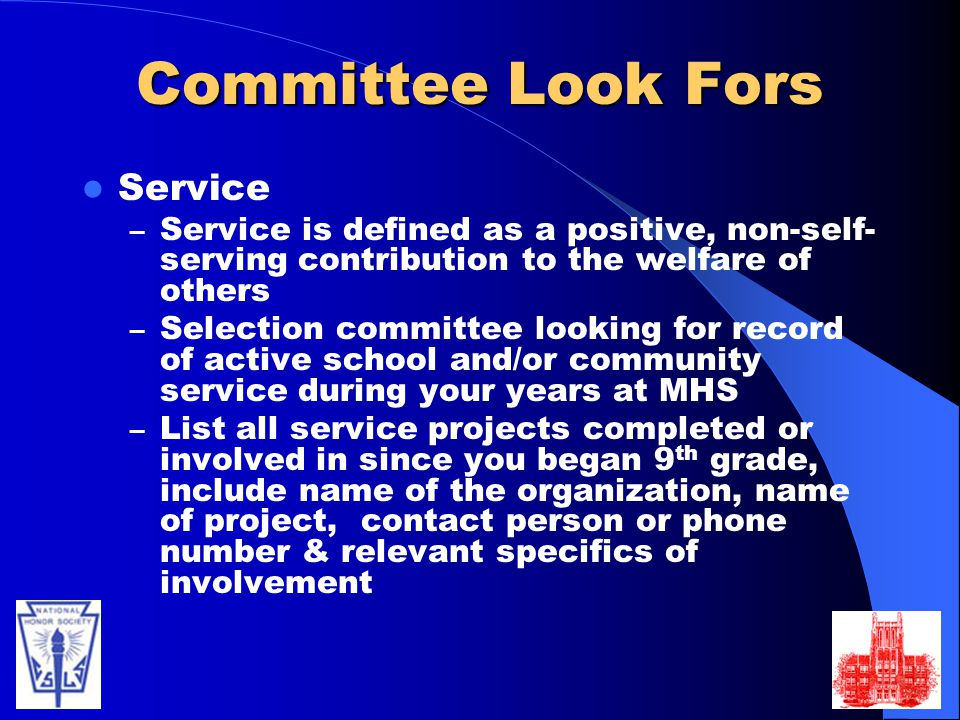 Committee Look Fors Service
