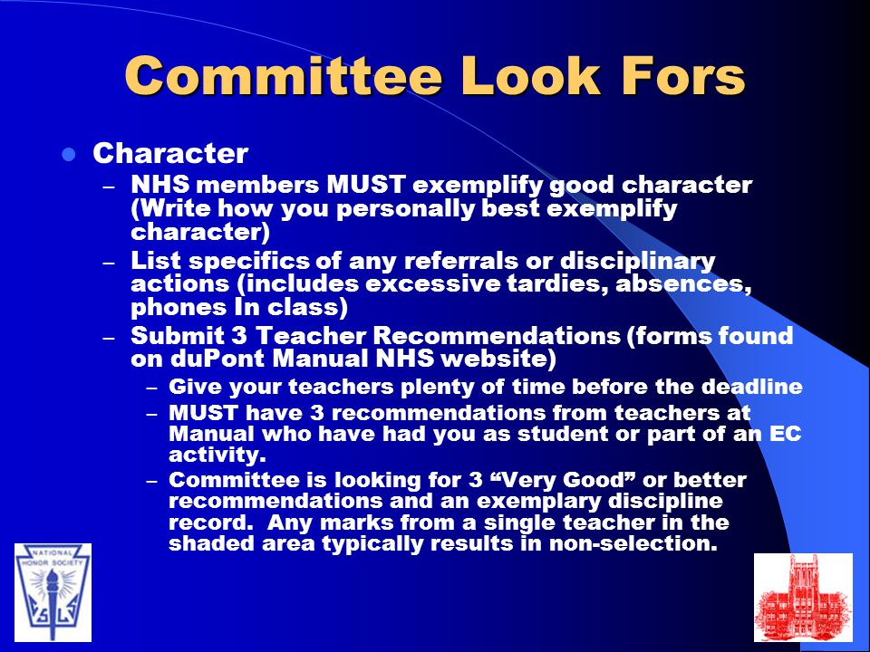 Committee Look Fors Character
