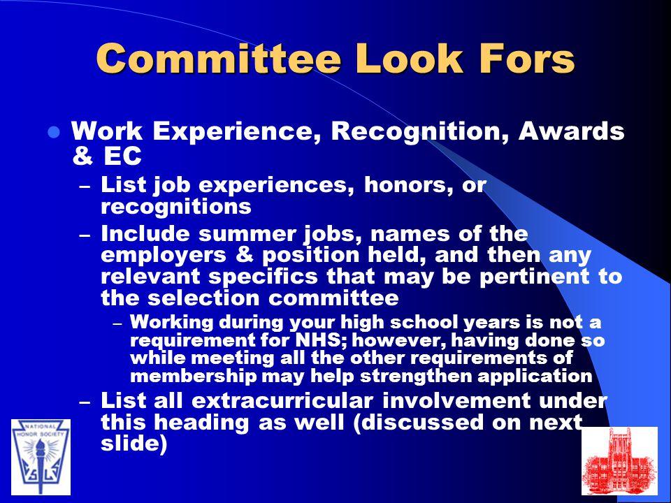 extra curricular activities list for job application