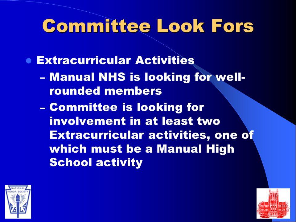 Committee Look Fors Extracurricular Activities