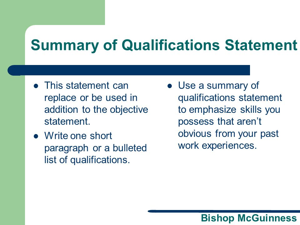 Summary of Qualifications Statement