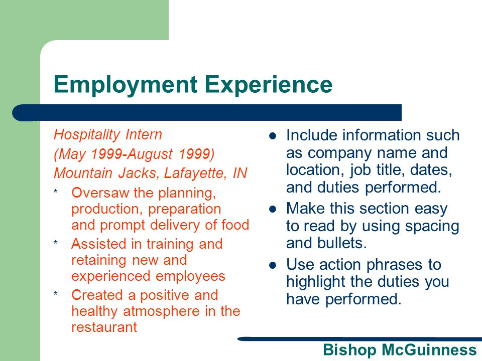 Employment Experience