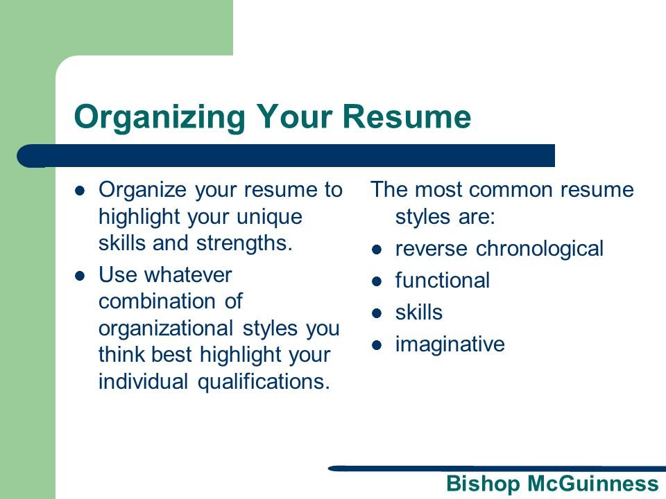 Organizing Your Resume