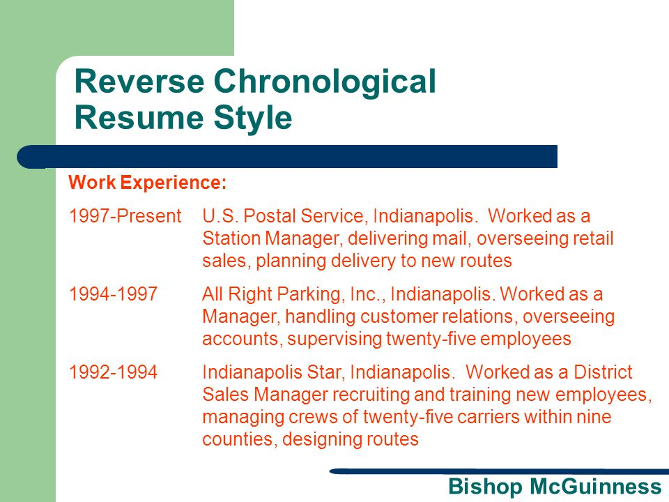 Reverse Chronological Resume Style