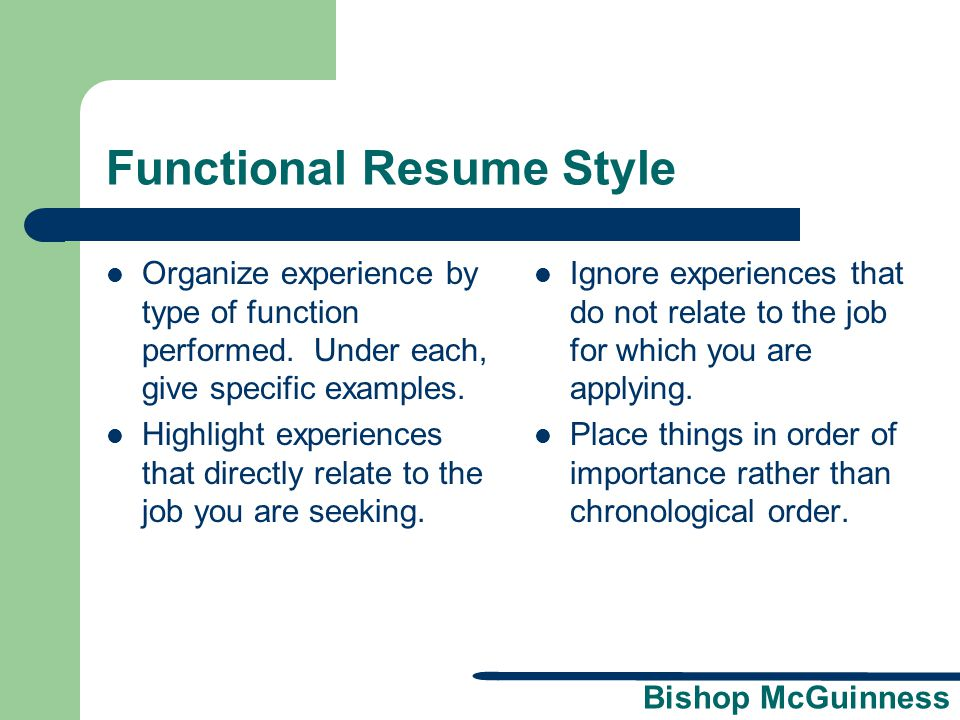 Resume Workshop A presentation brought to you by the Bishop