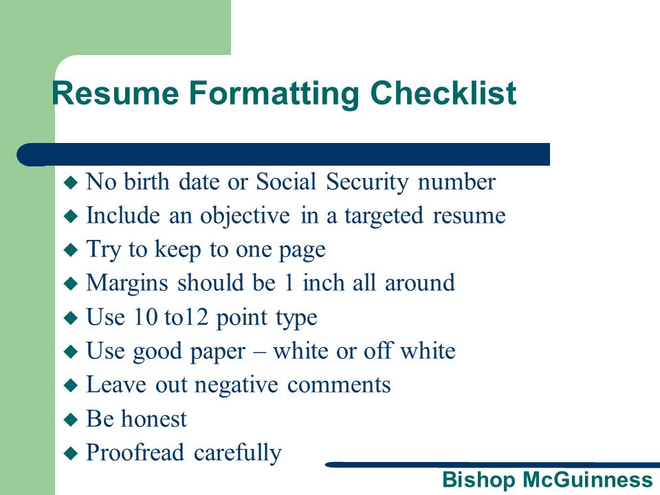 Resume Formatting Checklist
