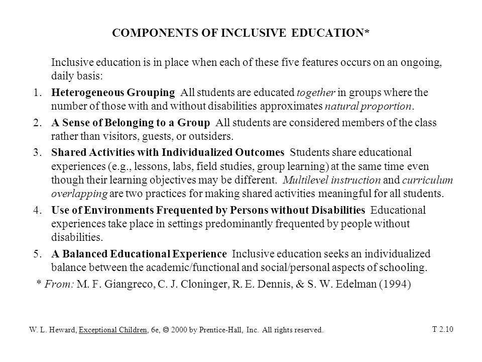 COMPONENTS OF INCLUSIVE EDUCATION*