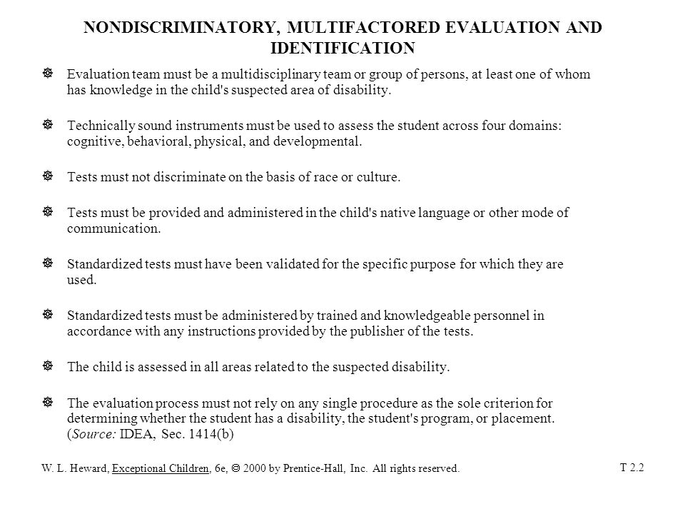 NONDISCRIMINATORY, MULTIFACTORED EVALUATION AND IDENTIFICATION