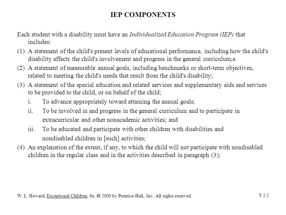 IEP COMPONENTS Each student with a disability must have an Individualized Education Program (IEP) that includes: