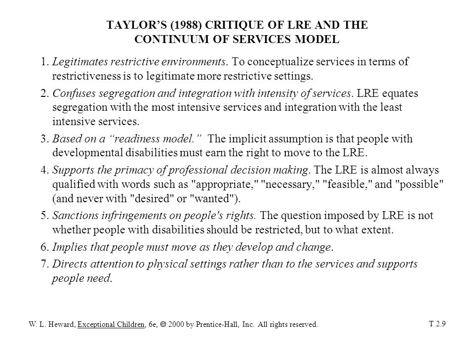TAYLOR'S (1988) CRITIQUE OF LRE AND THE CONTINUUM OF SERVICES MODEL