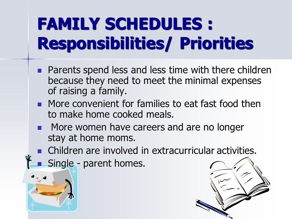 FAMILY SCHEDULES : Responsibilities/ Priorities