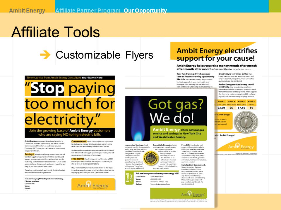 Affiliate Tools Customizable Flyers Ambit Energy