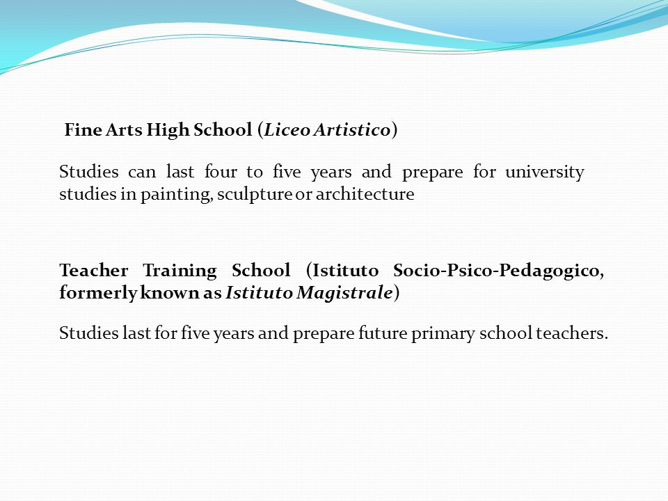 Fine Arts High School (Liceo Artistico)