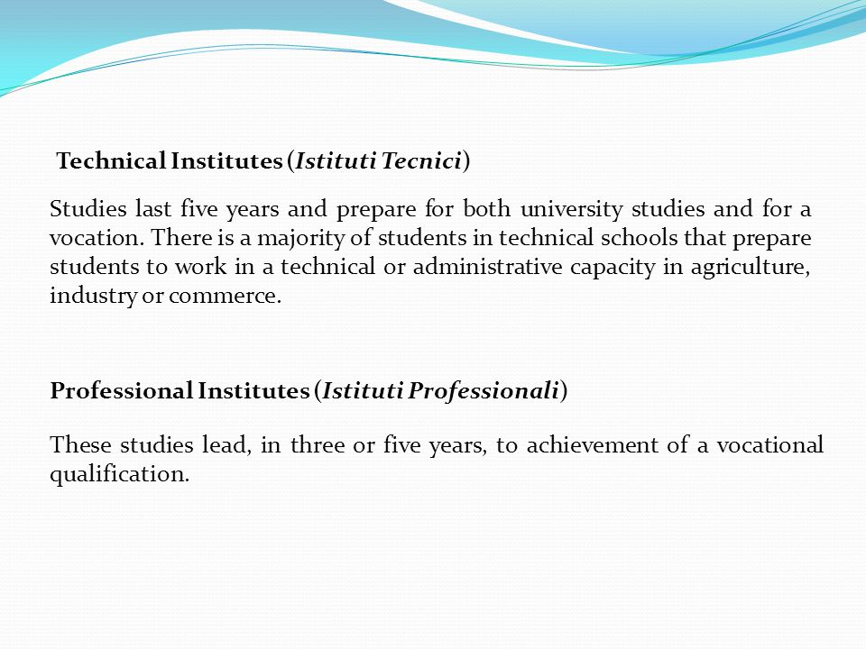 Technical Institutes (Istituti Tecnici)