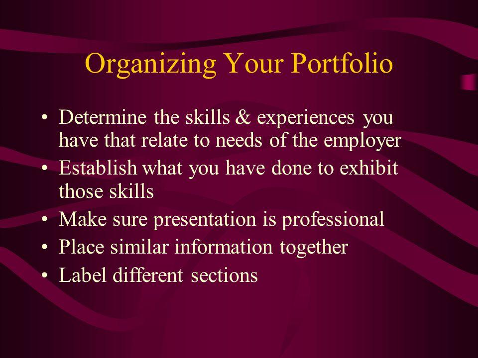 Organizing Your Portfolio