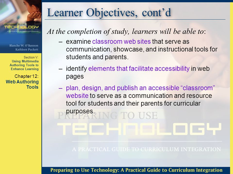 Learner Objectives, cont'd