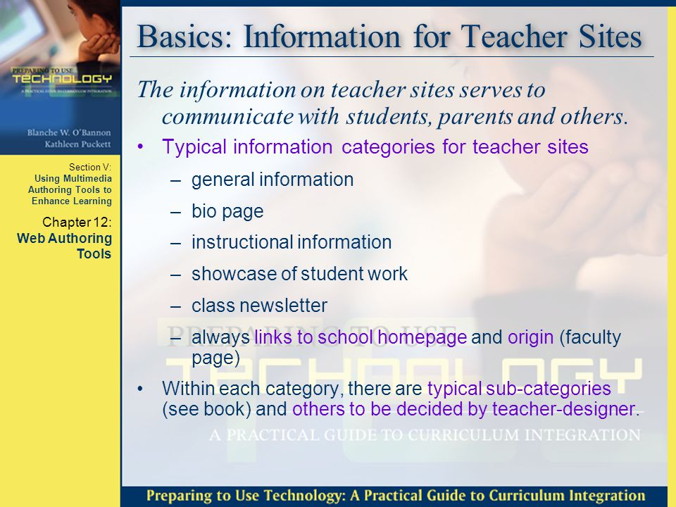 Basics: Information for Teacher Sites