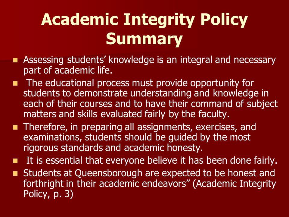 Academic Integrity Policy Summary