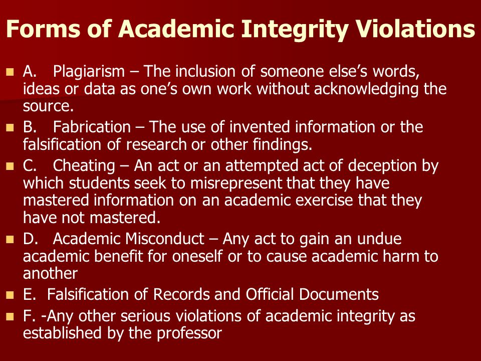Forms of Academic Integrity Violations