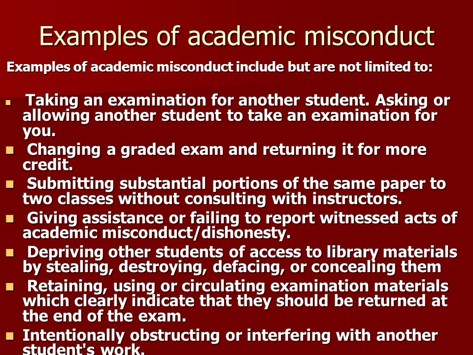 Examples of academic misconduct