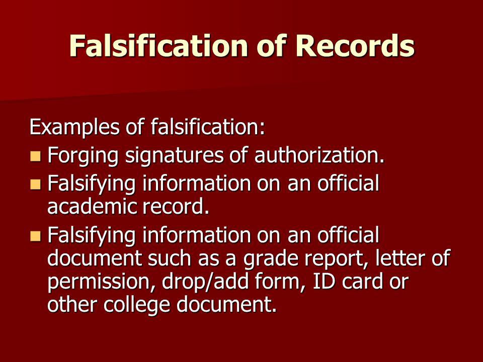 Falsification of Records