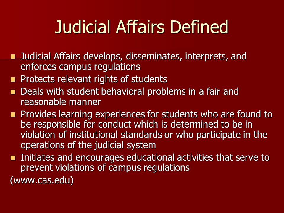 Judicial Affairs Defined
