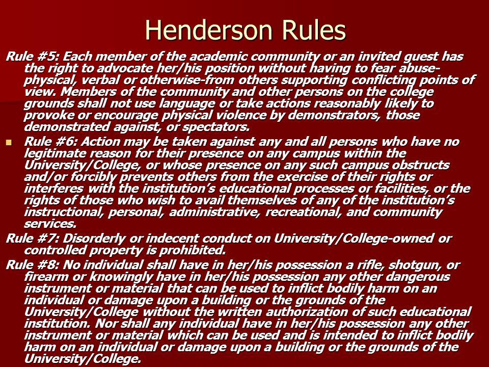 Henderson Rules