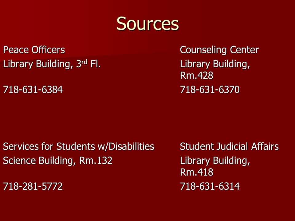 Sources Peace Officers Counseling Center