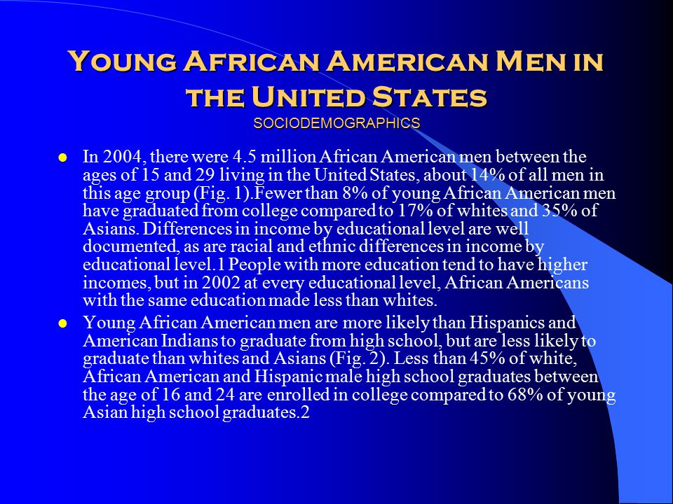 Young African American Men in the United States SOCIODEMOGRAPHICS