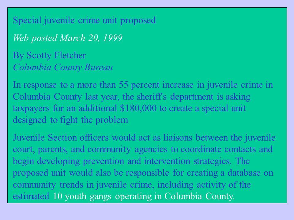 Special juvenile crime unit proposed