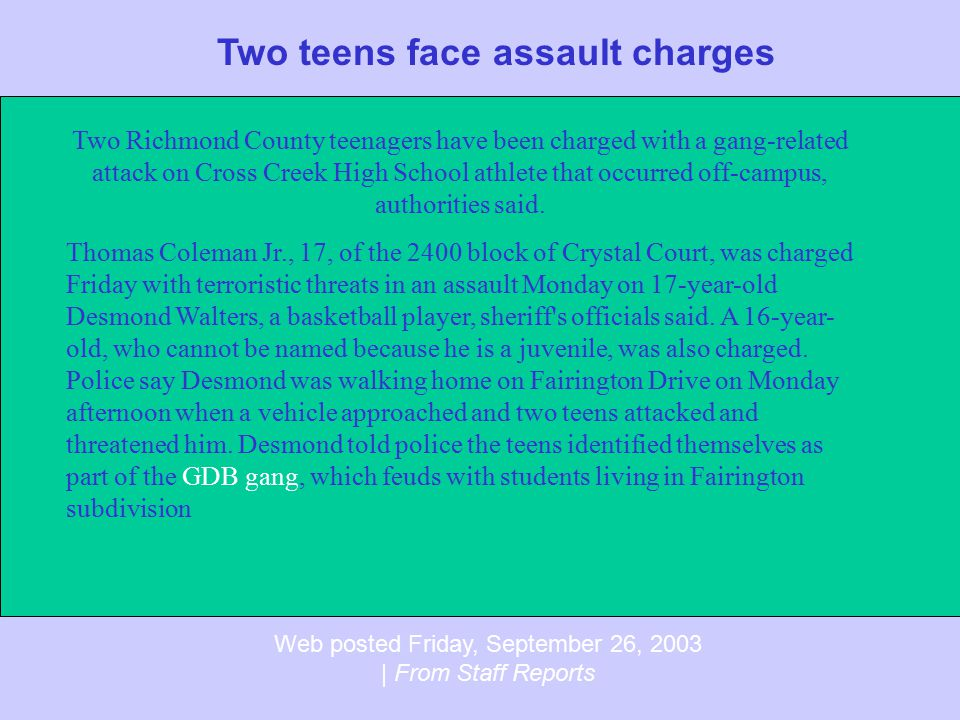 Two teens face assault charges