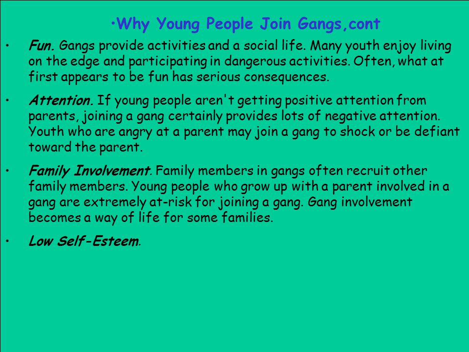 Why Young People Join Gangs,cont