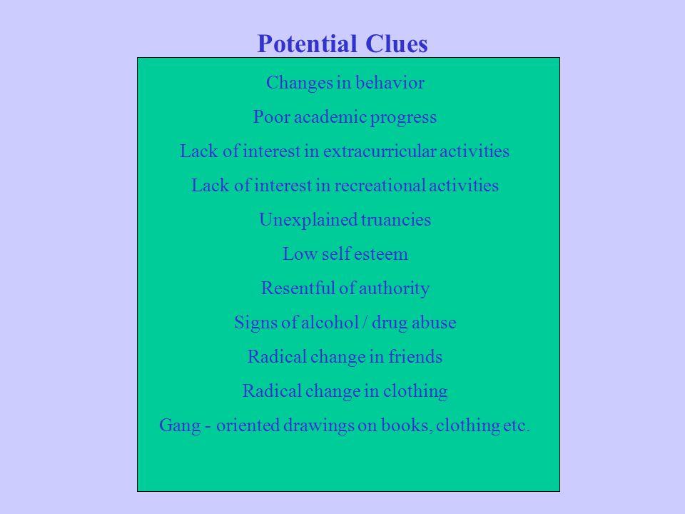 Potential Clues Changes in behavior Poor academic progress