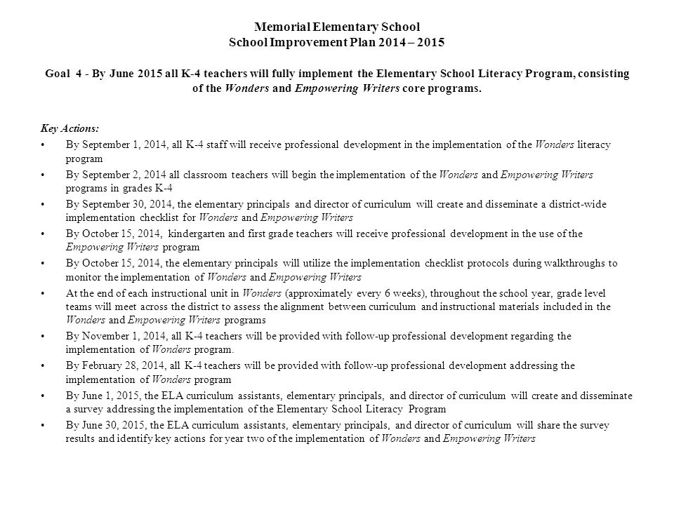 Memorial Elementary School School Improvement Plan 2014 – 2015 Goal 4 - By June 2015 all K-4 teachers will fully implement the Elementary School Literacy Program, consisting of the Wonders and Empowering Writers core programs.
