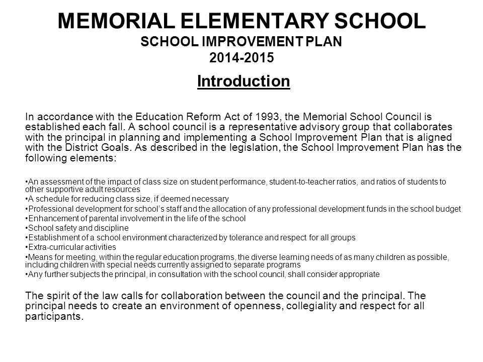 MEMORIAL ELEMENTARY SCHOOL SCHOOL IMPROVEMENT PLAN 2014-2015