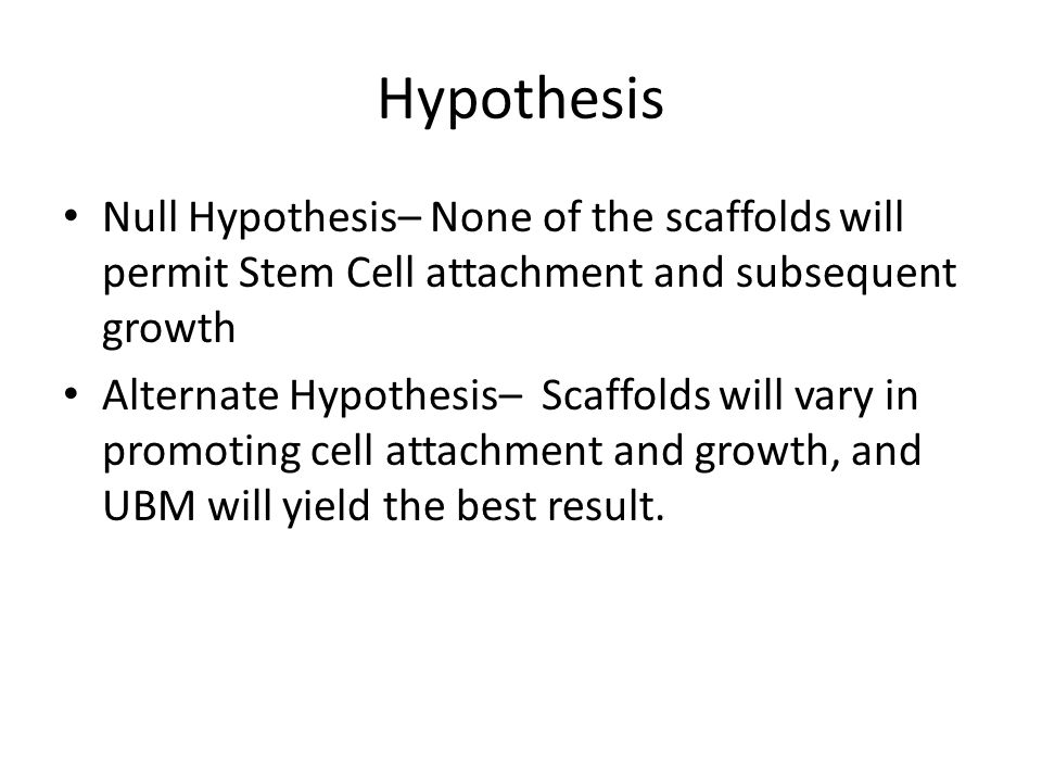 Hypothesis Null Hypothesis– None of the scaffolds will permit Stem Cell attachment and subsequent growth.