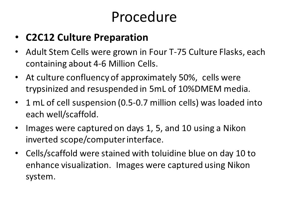Procedure C2C12 Culture Preparation