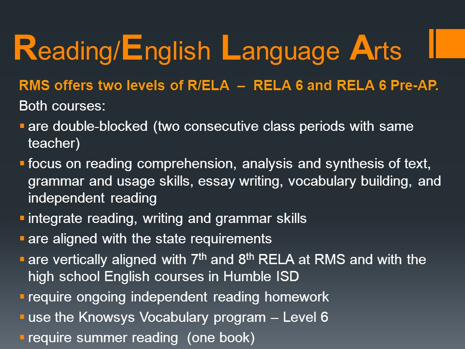Reading/English Language Arts