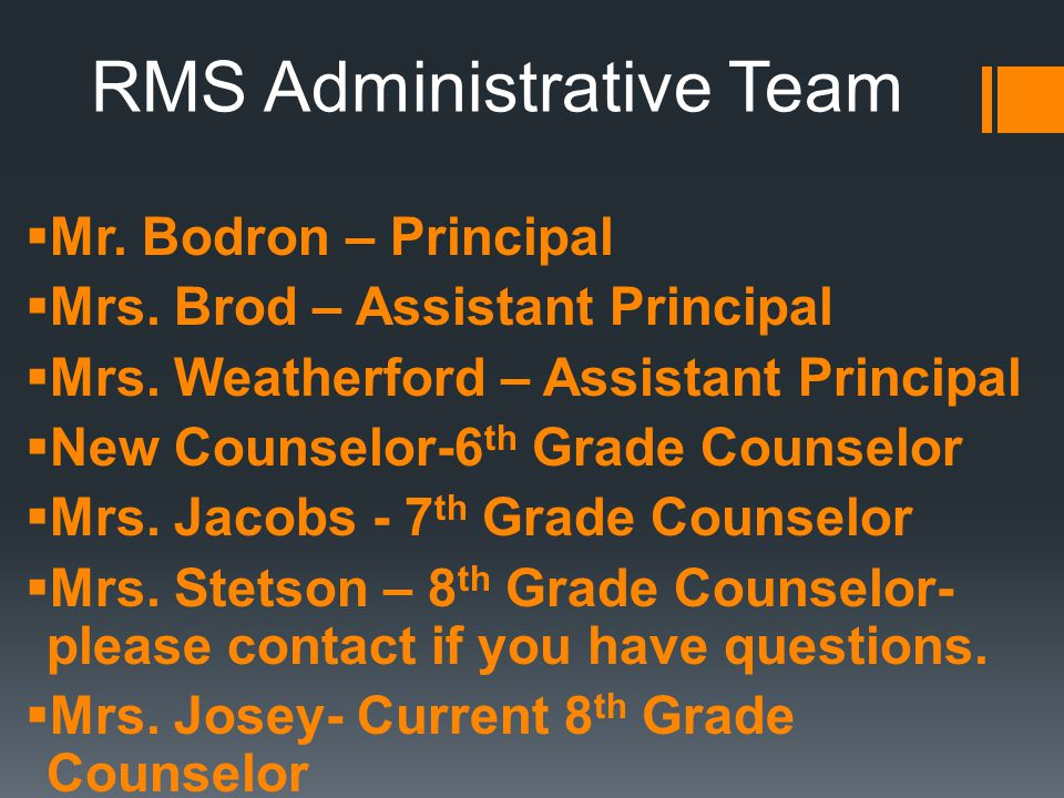 RMS Administrative Team