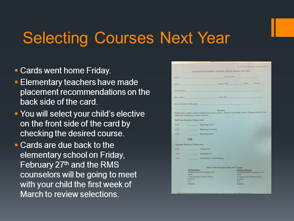 Selecting Courses Next Year