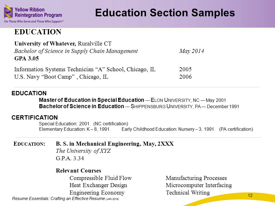 Education Section Samples