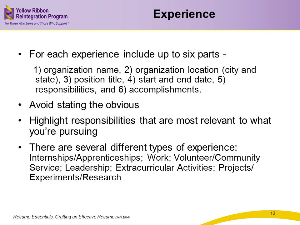 Experience For each experience include up to six parts -