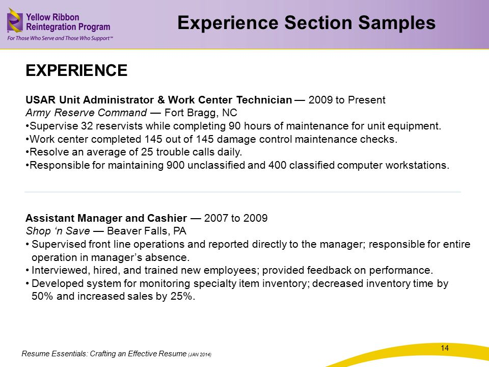 Experience Section Samples